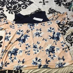 Peach with blue and white flower shirt
